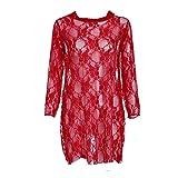 ZLXLX Frauen 'S Sexy Dessous Perspektive Mini Mesh Engen Spitzenkleid Pyjamas Unterwäsche Rot-Xl,L