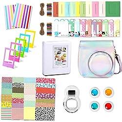 Leebotree Accessoires Compatible avec Appareil Photo Instax Mini 9, Mini 8/8+, Le Package Comprend étui,Album, lentille, filtres, Cadres et Autres (Argent Magique)