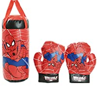 Children kids canvas spider-man boxing Punching Bag And Boxing Gloves Set
