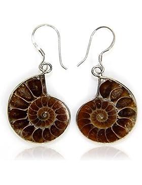 Natur Ammonit Fossil Charm mit S925Sterling Silber Haken Ohrringe