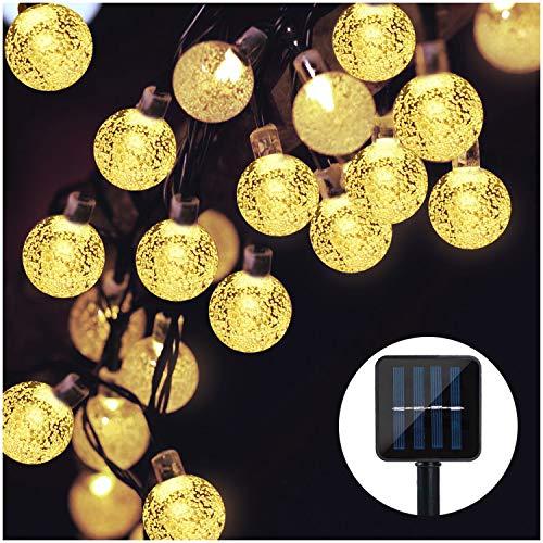 Solar Lichterkette, Mr.Twinklelight 4.5M 30er LED Lichterkette Außen Kristall Kugeln Garten Licht für Garten, Terrasse, Zuhause, Weihnachtsdeko und Partys (Warmweiß)