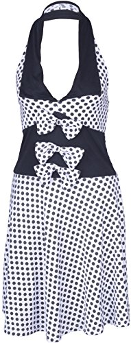 Küstenluder MABLE Polka Dots BOW Neckholder SWING Kleid Rockabilly - Weiß