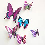 12 Pieces 3D Butterfly Stickrs Fashion Design DIY Wall Decoration House Decoration Babyroom Decoration-PURPLE by ZOOYOO