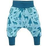 Pinokio - Wild Boy - Baby Hose 100% Baumwolle, türkis mit Waldtieren - Jogginghose, Haremshose, Pumphose, Schlupfhose - elastischer Bund (74)