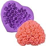 3D Rose Flower in Heart Shape Silicone Icing Mould Mold Fondant Handmade Soap Cake Sugar Sugarpaste Decoration Baking Tools Crafts DIY Valentine Gift