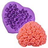 3D Rose Flower in Heart Shape Silicone Icing Mould Mold Fondant Handmade Soap Cake Sugar Sugarpaste Decoration Baking Tools Crafts DIY Valentine Gift