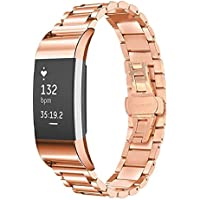 HRT® Fitbit Charge 2 smart Uhr gewidmet Business Schmetterling Schnalle Stahlband, charge2 drei Perlen Stahlgürtel