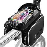yotame Fahrrad Rahmentasche, Fahrrad Handytasche Wasserdicht mit TPU Touchscreen Fahrrad Oberrohrtasche mit Kopfhörerloch für 6 Zoll Handys,GPS Navi, Fahrrad Lenkertasche für MTB, Rennrad, Straßenrand