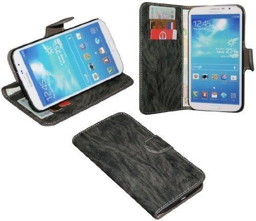 Samsung Galaxy Mega i9205 Buchtasche Hülle Case Tasche Wallet BookStyle mit STANDFUNKTION Anthrazit @ Energmix