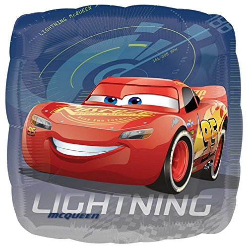 Anagram Disney Cars 3 Lightning McQueen Quadratischer Folien Luftballon (45 cm) (Blau)
