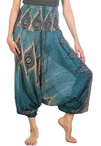 Lofbaz Femmes Floral Œil Harem Smocked Taille 2 en 1 Combinaison Pantalon Teal Vert 2XL