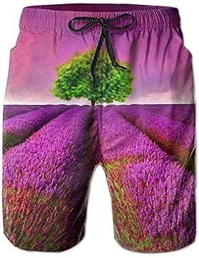 Earth Lavender Wonderland Men's/Boys Casual Shorts Swim Trunks Swimwear Elastic Waist Beach Pants with Pockets