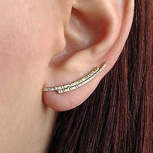 Paar vergoldeten Ohrmanschetten, 925 Sterling Silber Ohr Kletterer, minimalistisch Ohrringe, Ohrmanschetten handgefertigt von Emmanuela