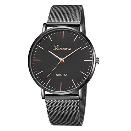 LSAltd Unisex Neue Luxusuhr Frauen Männer Klassische Edelstahlband Uhr Quarz Analog Armbanduhr Große Armband Schmuck (J)