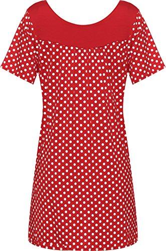 WearAll - Damen Übergröße Floral-Blumen-Druck Scoop Neck Short Sleeve Top Tunika - 4 Farben - Größe 40-54 Rot Flecken