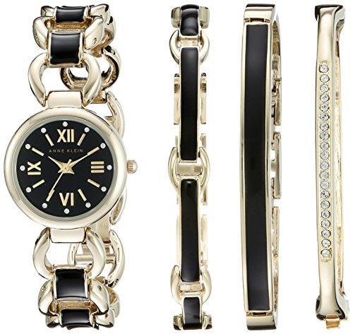 anne-klein-para-mujer-ak-1982bkst-swarovski-crystal-accented-tono-dorado-y-negro-reloj-y-pulsera-con