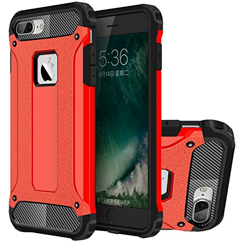 iPhone 7 Plus Hülle, HICASER Hybrid Dual Layer Rugged Heavy Duty Defender Case [Shock Proof] Drop Resistance TPU +PC Handytasche Schutzhülle für Apple iPhone 7 Plus 5.5-inch Rose Gold Rot