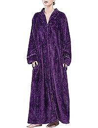 553824963c Ladies Winter Flannel Dressing Gown Fleece Bathrobe Full Length Loungewear M