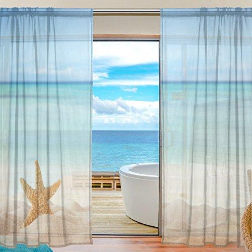 Vorhang Beach Meer Landschaft Seestern Muster Print Polyester Material Stoff für Schlafzimmer Decor Home Tür Deko Küche Wohnzimmer 2Felder 198,1x 139,7cm (Küche Vorhänge Meer)