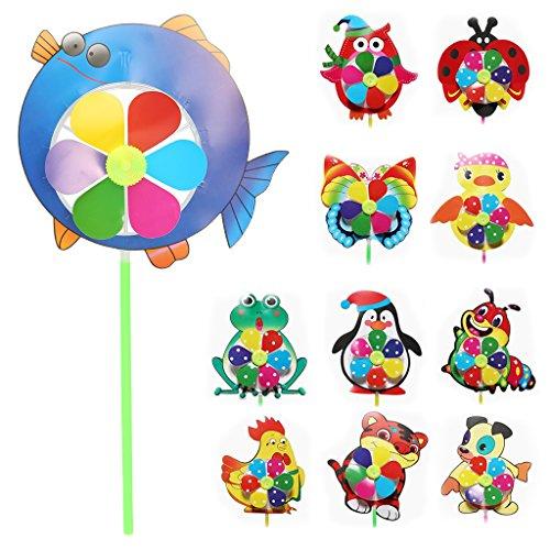 Fogun Windmühle, Cartoon Tier Windmühle Wind Spinner Windrad Hausgarten Yard Decor Kinder Spielzeug Farbe Gelegentliche Llieferung