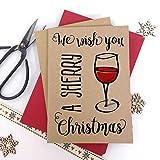 Luxus Kraft Weihnachtskarten Wish You A Sherry Weihnachten Erwachsene Spaß mit dicken Qualität Briefumschläge, Pack of 6 cards Kraft
