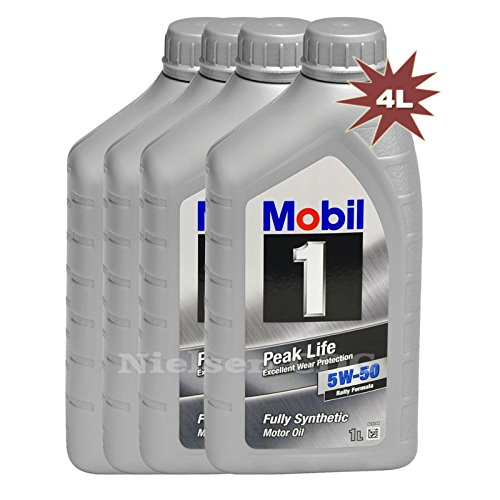 Mobil 1, olio per motore Peak Life 5 W-50 Rally Formula, 4 L (etichetta in lingua italiana non garantita)
