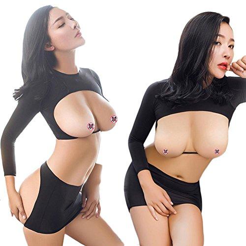 che Frauen Dessous Versuchung Tau Gesäß Brust Weiblich Häftling Set (Häftling Kleid)
