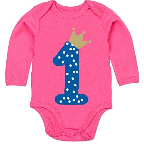 (Shirtracer Geburtstag Baby - 1. Geburtstag Krone Junge Erster - 6-12 Monate - Fuchsia - BZ30 - Baby Body Langarm)