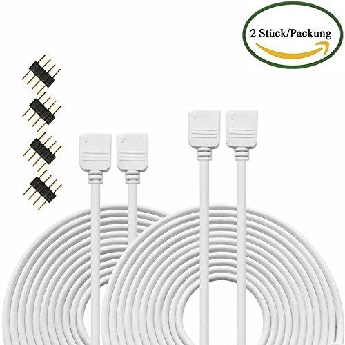 Kabenjee 2x 5m 4 polig RGB LED Verlängerungskabel,RGB LED Band Verbinder Verlängerung Anschluss Verteiler Kabel für OSRAM flexible RGB LED Streifen,Indirekt RGB LED Stripe Layout Stromkabel-Weiß