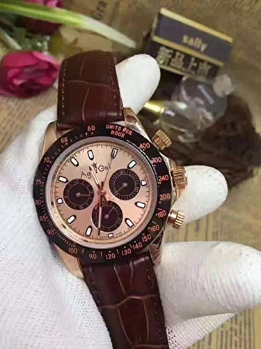 YQDSZHDAP Luxusmarke Mens Rose Gold Chocolate Dial Keramik Lünette Leder Gent automatische mechanische Saphir Uhren 1