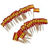 F Fityle 100pcs Bastoncini per Bandiere Cocktail Decorativi, Materiale Carta e Legno - Spagna