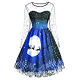 VEMOW Weihnachtsfeier Elegantes Kleid Damen Spitze Kurzarm Weihnachten Schnee Druck Lässig Täglich Einzigartiges Design Vintage Swing Kleid(A1-Blau, EU-38/CN-M)