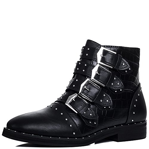 Multi Buckle Flat Ankle Boots Shoes Black Leather Style Sz 6 (Buckle Boots)