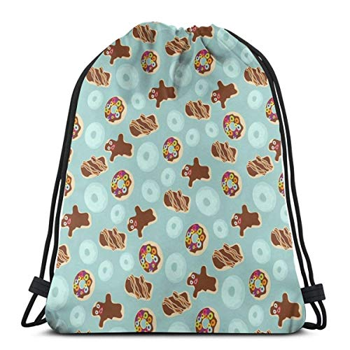 Voodoo Donuts Rotated Gym Sack Bag Drawstring Sport Beach Travel Outdoor Backpack for Women 17 X 14 Inch