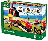 BRIO World 33719 Bahn Bauernhof Set - Holzeisenbahn mit Bauernhof, Tieren und Holzschienen - Kleinkinderspielzeug empfohlen ab 3 Jahren