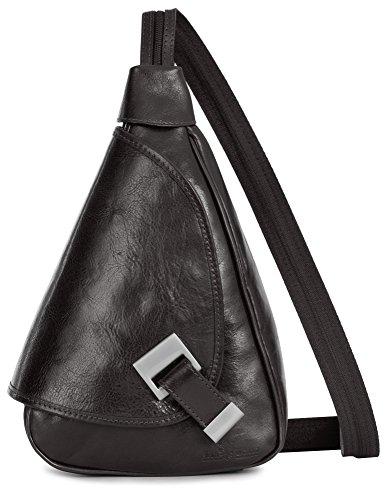LiaTalia kleine italienische Echtledertasche Schnalle Detail Leder Rucksack mit Schutz-Staubbeutel - Mila Kaffee (Tote Zip Baumwoll-top -)