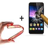 WoowCase | Flexible Gel Schutzhülle für [ Jiayu G5 - G5S ] [ +1 Schutzglas ] Hartglas, Jiayu G5 - G5S Hülle Case TPU Silikon in Rot
