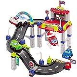 Bausteine City2 Parkgarage mit Spielstrasse, 4 Fahrzeuge, kombinierbar: Baby Kinder Park Garage Autogarage Spielzeug Parkhaus 4 Spiel Autos