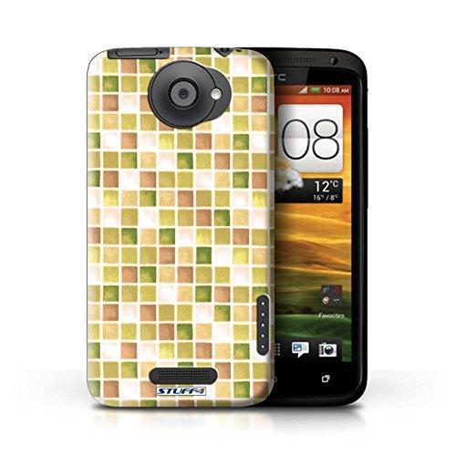 Kobalt® Imprimé Etui / Coque pour HTC One X / Vert/Brun conception / Série Carreau Bain Jaune/Marron