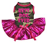 petitebelle Puppy Kleidung Kleid Best Dog Ever Camouflage Top Bling Hot Pink Tutu