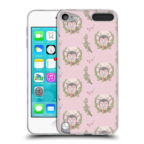 Head Case Designs Offizielle Kristina Kvilis Schwein Kranz 2 Weihnachtstiere 2 Soft Gel Huelle kompatibel mit Apple iPod Touch 5G 5th Gen -