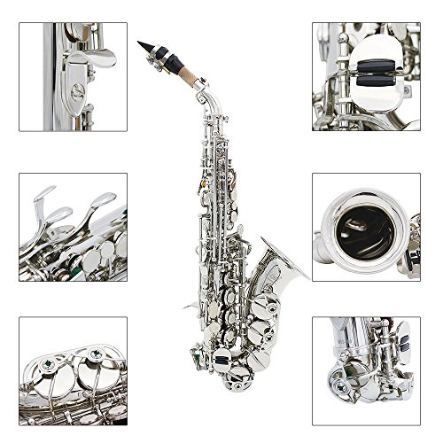 Fesjoy Bb Bend Saxophon Althorn Saxophon LADE Messing Golden Carve Pattern Bb Bend Althorn Sopransaxophon Sax Perlweiß Muschelknöpfe Blasinstrument mit Etui Handschuhe Reinigungstuch Gürtelbürste