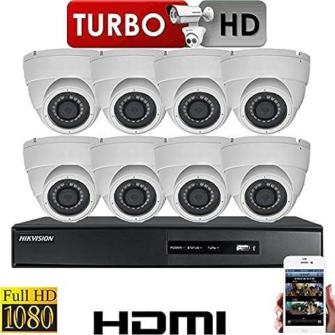 Hikvision Système de vidéosurveillance avec 8x caméras de sécurité 2,4MP HD Tvi 1080p Full HD P2P + disque dur 2To Offer