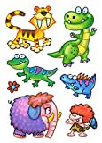 Fensterbilder Set 7-tlg. für Kinder Dinosaurier Tiere Dino Säbelzahntiger Blume