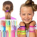 GirlZone: Haargummi Set Mädchen - 50 farbige Zopfgummis