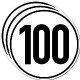 Aufkleber Sticker 100 kmh km/h 20cm Schild Geschwindigkeit für Schlepper Zugmaschine Multicar Anhänger Fahrzeug LKW Bus (3)