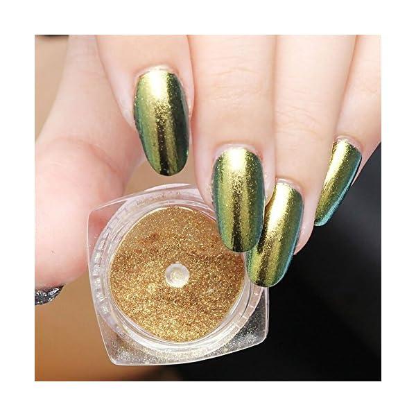 Kanggest. 2Pcs Pigmento del Brillo de Arte de Clavo Efecto Espejo Brillante Manicura de Uñas de Cromo en Polvo para…