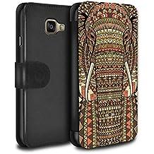 Stuff4 Coque/Etui/Housse Cuir PU Case/Cover pour Samsung Galaxy A3 (2016) / éléphant-Sépia Design / Motif Animaux Aztec Collection