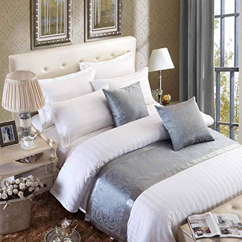 Osvino runner da letto copriletto elegante doppio tessuto miscelato corridore liscio lussuoso classico antico per alberghi camere letti, grigio argentato 180x50cm pour 120cm lit