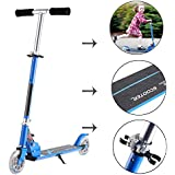 Dtemple Children LED Light 2 Wheel Handheld Mini Kick Scooter With Adjustable Height For Above 4 Years Blue